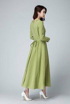 6f87657a453 Sage green dress linen maxi dress long dress ruffle dress