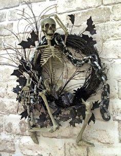 Skeleton Wreath, Halloween Wreath, Halloween Skeleton, Halloween Decor, Halloween Door Wreath, Halloween Decoration, Skeleton Decor, Creepy, Scary, Spooky, Wreath on Etsy, by Adorabella Wreaths!