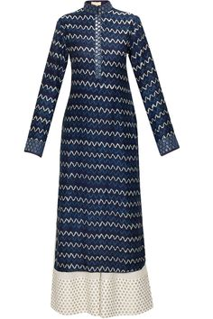 Blue wave printed kurta with white cotton pants by Vikram Phadnis. Shop now: http://www.perniaspopupshop.com/designers/vikram-phadnis #kurta #vikramphadnis #shibori #perniaspopupshop #shopnow #happyshopping