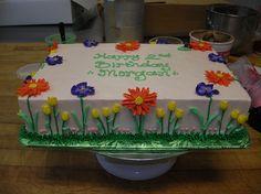 Floral cake for trolls party? Buttercream Cake, Fondant Cakes, Cupcake Cakes, Cupcakes, Pastel Rectangular, Sheet Cakes Decorated, Thomas Cakes, 90th Birthday Cakes, Flat Cakes