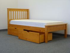 Twin Bed - Honey with Drawers delivered for only $286 from www.bunkbedking.com