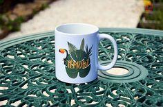 Le mug/Tasse Témoin esprit tropical mariage exotique vert