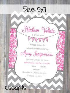 Damask Chevron Baby Girl Shower Invitation! Digital Copy Only! on Etsy, $12.00