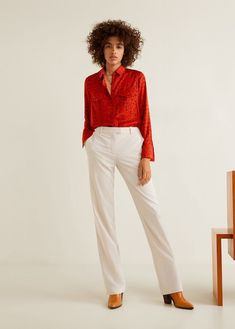 Straight design Flowy fabric Zip and hook fastening Loops on the waist Two side pockets Baggy Trousers, Straight Trousers, Trousers Women, Pants For Women, Mango Outlet, Latest Trends, Capri Pants, Leggings, Skinny