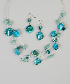 Another great find on #zulily! Turquoise Shell Illusion Necklace & Earrings #zulilyfinds