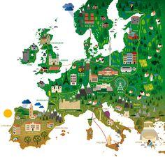"""Europe map Kultur Sommer 2012 - for """"Zeit Kultur Sommer"""" (Human Empire Studio)"""