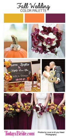 Fall Wedding Colors, burgundy, orange and yellow color palette as seen on the real wedding on Todaysbride.com | Photos by Love is All you Need photography