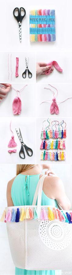 » MY DIY   Pastel Tassel Beach Bag