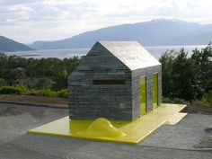 Award-winning Norwegian tourist facilities used Flowpoint paving jointing, available from Arcon Supplies Drainage Channel, Washroom Design, Block Paving, Small Buildings, Small Spaces, Shed, Floor Plans, Public, Outdoor Structures