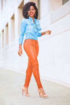 Ruffled Denim Shirt + Cognac Leather Skinnies