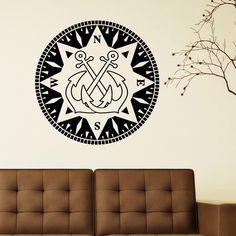 Nautical Anchor Wall Decal Vinyl Sticker- Anchor Wall Art Home Decor Compass North South West East- Compass Anchor Nautical Wall Decals C048 #walldecals #nauticaldecor #vinylstickers #anchor