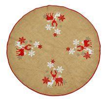 Dekorativt juletræstæppe med en diameter på 125 cm. Tæppet er i hør og med fine julemotiver. Køb det her hos jem & fix.