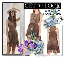 """""""BCBG Hamiin Fringe Faux Suede Vest Short Dress"""" by evermissjody ❤ liked on Polyvore featuring Chrome Hearts and Christian Louboutin"""