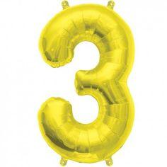 """Ballon chiffre """"3"""" or - 40 cm"""