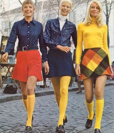 Knee socks with mini skirts in high school - early 70's