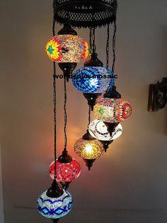 7 Ball Multicolour Large Mosaics Turkish Moroccan Hanging Glass Mosaic Helezon Chandelier Lamp Lighting