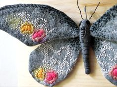 Fabric sculpture Dark gray butterfly textile art
