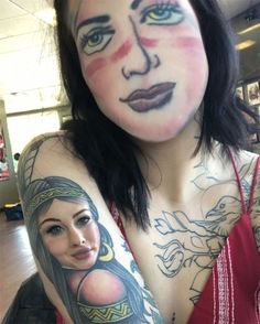 People Are Using Face Swap Apps To Switch Their Faces And Their Tattoos, And Here Are 84 Hilariously Terrifying Pics Face Swaps, Funny Photos, Funny Images, Face Swap App, Funny Picture Gallery, Safety Posters, Top Memes, Daily Funny, Image Macro