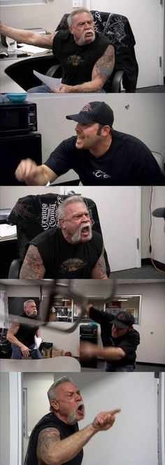An American Chopper Argument meme. Caption your own images or memes with our Meme Generator. American Chopper, Funny Reaction Pictures, Meme Pictures, Funny Photos, Funny Images, Memes Estúpidos, Cute Memes, Stupid Funny Memes, Funny Texts