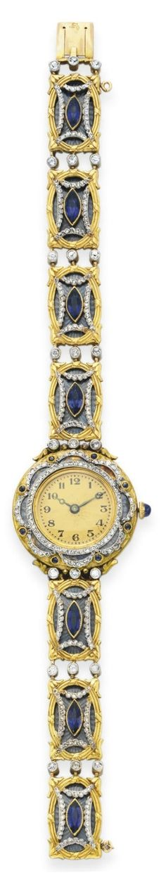 A BELLE EPOQUE SAPPHIRE, DIAMOND AND ENAMEL WRISTWATCH. Mounted in 18k gold, circa 1910, with French assay mark and maker's mark for Husson, movement numbered. #BelleÉpoque #watch