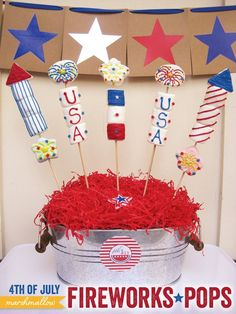 4th-of-july-fireworks-marshmallow-pops-tutorial.  Not sure if I have the patience for this but hey sure are cute!