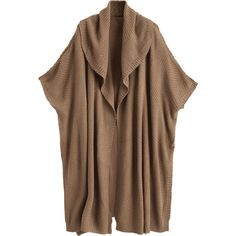 Side Slit Draped Cape Cardigan Brown (€22) ❤ liked on Polyvore featuring tops, cardigans, brown cardigan, drape top, brown top, brown cardi and draped cardigan