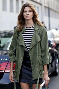 black + white stripes with an army jacket