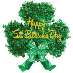 Happy St Patricks Day Deluxe Shamrock Tinsel Decoration 18in