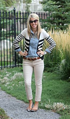 Khaki colored denim, chambray shirt, striped cardigan
