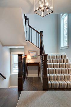 Stair Runner. Striped Stair Runner. Neutral Striped Stair Runner. Foyer with dark hardwood floors and Striped Stair Runner. #StripedStairRunner #StairRunner Grace Hill Design