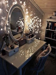 """Pretty vanity set-up. Not sure if the """"Christmas lights"""" would provide good enough lighting but definitely a cute idea."""