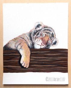 Baby Sleeping Tiger Safari Nursery Animals Tiger by Artby1107