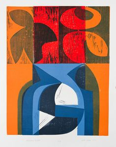 Floating Night Woodcut and stencil Peter Green