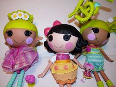 3 Full Size LALALOOPSY Dolls PIX E FLUTTERS Fairy SILLY HAIR SNOWY + mini