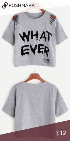 """Gray ripped cropped shirt New. Polyester. 34.5 to 43"""" across the chest. Shoulder 17.5"""". Length 19"""". Tops"""