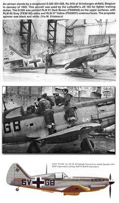 D-520 capturé par les Allemands et repeint à leurs couleurs. Utilisé comme avion d'entraînement.