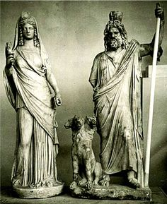 The God Serapis and His Consort Isis with the Three Headed Dog Cerberus