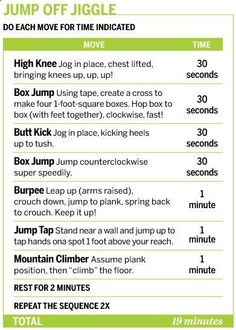 Jump Off Jiggle Workout -- good explanation for each exercise. Sounds tough...I really dont like burpees or mountain climbers.