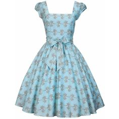 LADY VINTAGE SWING DRESS in 19 DIFFERENT PRINTS *50s ROCKABILLY RETRO*... ❤ liked on Polyvore featuring dresses, rockabilly dress, vintage rockabilly dress, vintage pattern dress, blue swing dress and swing dress