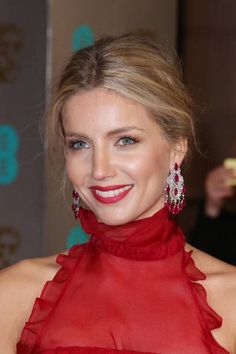 Annabelle Wallis at the BAFTAs 2016 wearing ruby earrings by Chopard