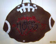 HOGS(tm)Burlap Football Door Hanging $35 (license #2012014 Arkansas Razorback Licensing & Marketing Board)