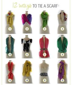 Here are 12 ways to tie a scarf. | 32 Creative Life Hacks Every Girl Should Know