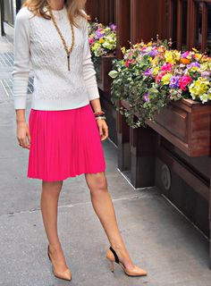 The Classy Cubicle: Cables and Pleats. Tommy Hilfiger cable-knit sweater covering a Calvin Klein dress. <3 this so much!!!!