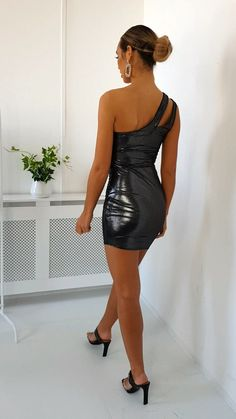 Black Felina One Shoulder Shimmer Mini Dress. Our FELINA dress features mini style, cut out feature, one shoulder style and shimmer finish! Satin Dresses, Sexy Dresses, Dress Outfits, Short Dresses, Fashion Dresses, Hot Dress, Dress Skirt, Vinyl Dress, Leather Dresses