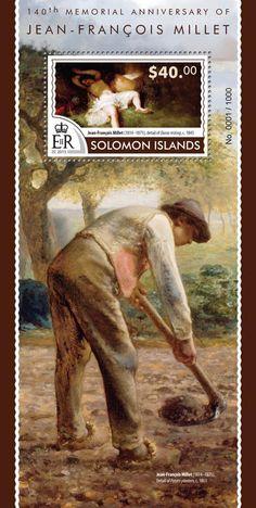 Post stamp Solomon Islands SLM 15320 b140th memorial anniversary of Jean-François Millet (1814–1875. Detail of Diana resting, c. 1845)