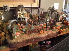 dept 56 halloween village corn stalk street lamps lighted set of two trees we and halloween