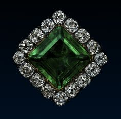 The Thurn and Taxis Diamond and Emerald Jewel, c.1780, An important emerald and diamond-set jewel, centrally-set with a square step-cut emerald within a border of sixteen cushion-cut diamonds, mounted in silver and yellow gold, currently as a brooch.