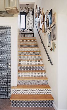 Stenciled Stair Risers design ideas and photos to inspire your next home decor project or remodel. Check out Stenciled Stair Risers photo galleries full of ideas for your home, apartment or office. Stenciled Stairs, Painted Stairs, Painted Tiles, Hand Painted, Wallpaper Stairs, Tile Stairs, Tiled Staircase, Basement Stairs, Staircase Remodel