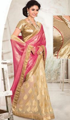 Appear stunningly wonderful in such a beige and salmon color chiffon half n half sari. The incredible attire creates a dramatic canvas with superb lace work. Upon request we can make round front/back neck and short 6 inches sleeves regular saree blouse also. #LatestFashionOfShinyColorsSaree