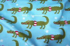 Farbenmix Püdile Baumwolljersey Krokodile Sterne Blumen blau Öko-Tex Standard100